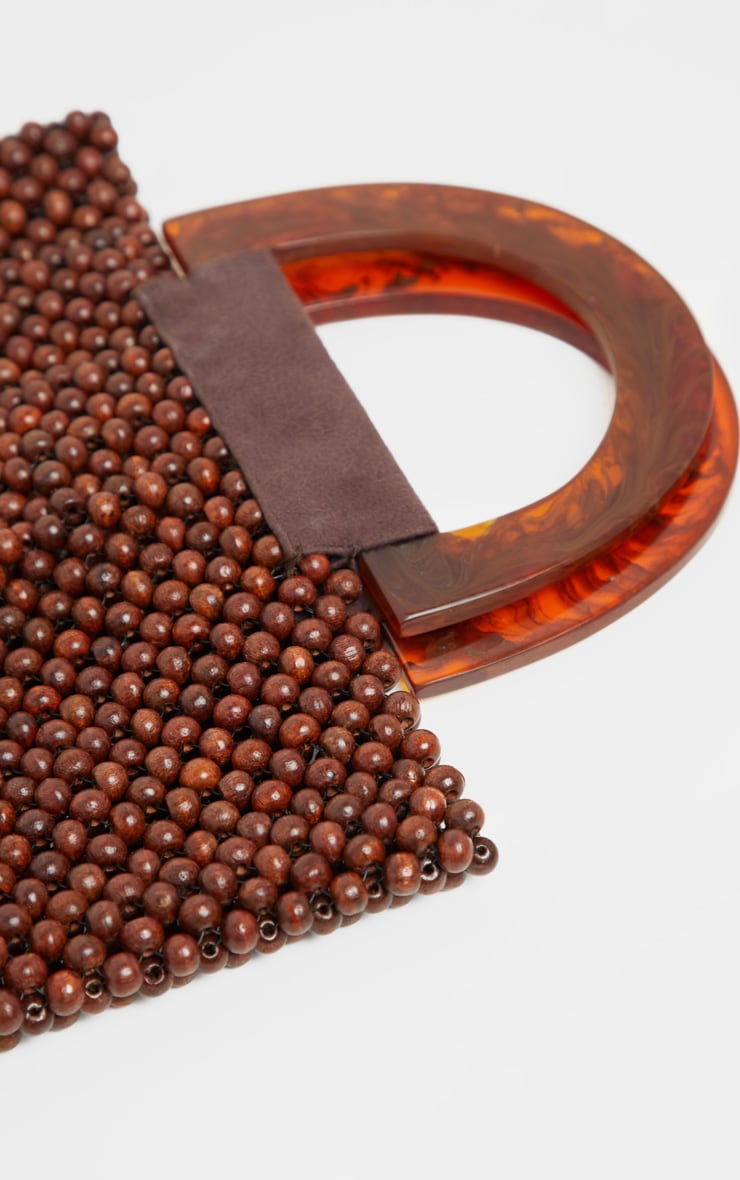 Brown Beaded Mini Bag With Tortoiseshell Handle Mini Bag 4