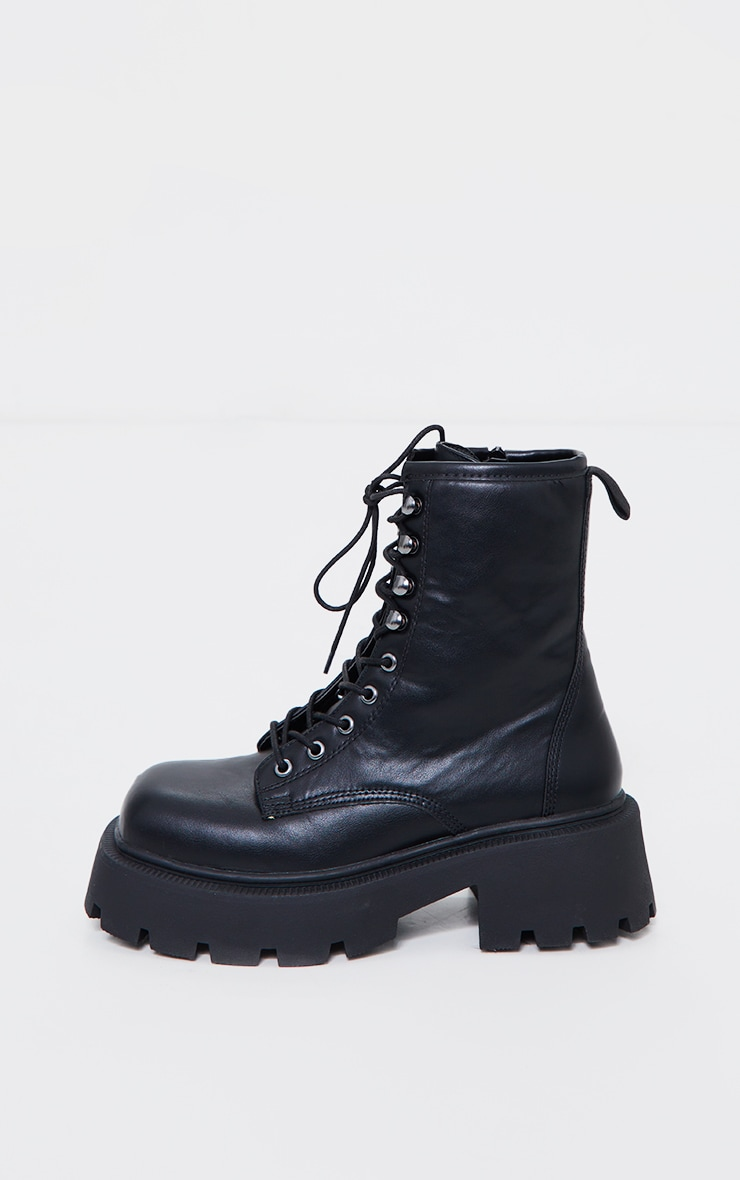 Black Extra Chunky Sole Lace Up Biker Boots 4