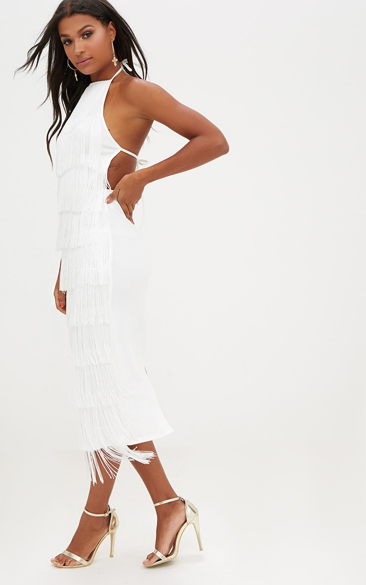 White Tassel Halterneck Midi Dress 4