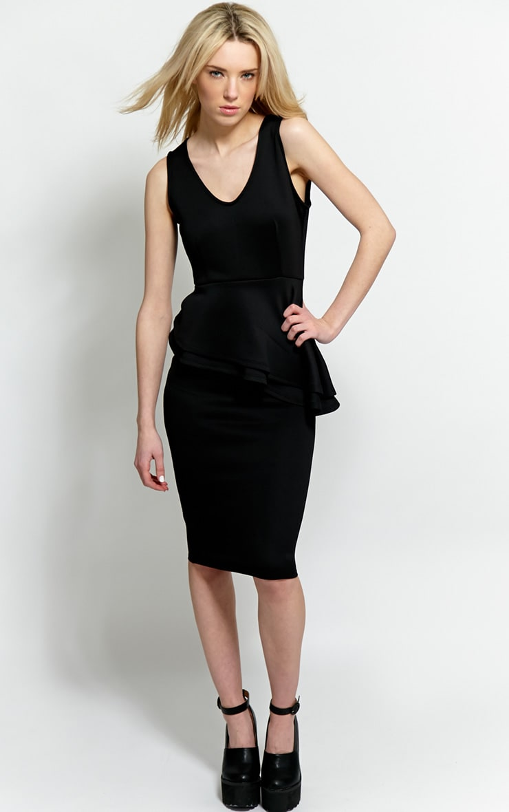 Glenda Black Peplum Midi Dress 1