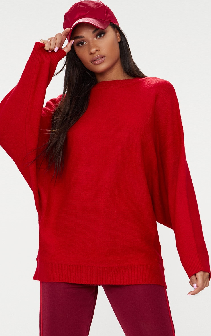 Red Oversized Knitted Sweater 1