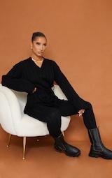 Black Belted Longline Sweater And Legging Lounge Set 1