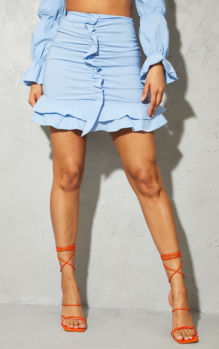 Blue Woven Stretch Ruched Front Mini Skirt 2