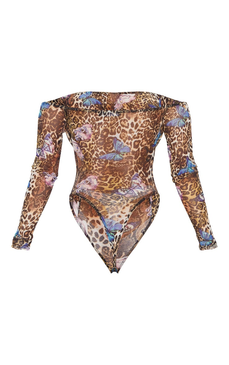 Tan Sheer Leopard Butterfly Print Gathered Bardot Bodysuit 6