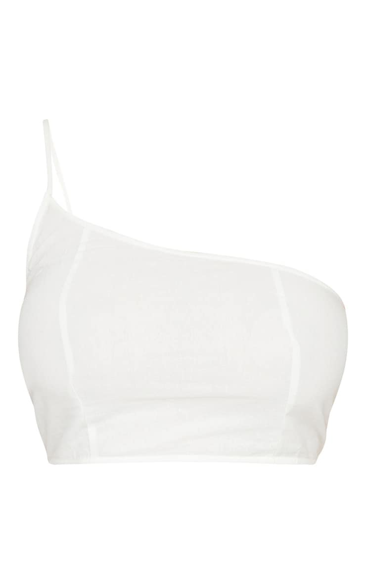 Plus White Woven Asymmetric Crop Top 5