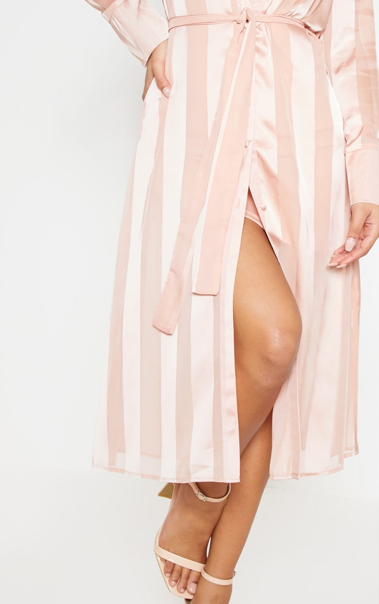 Champagne Satin Stripe Midi Shirt Dress 7