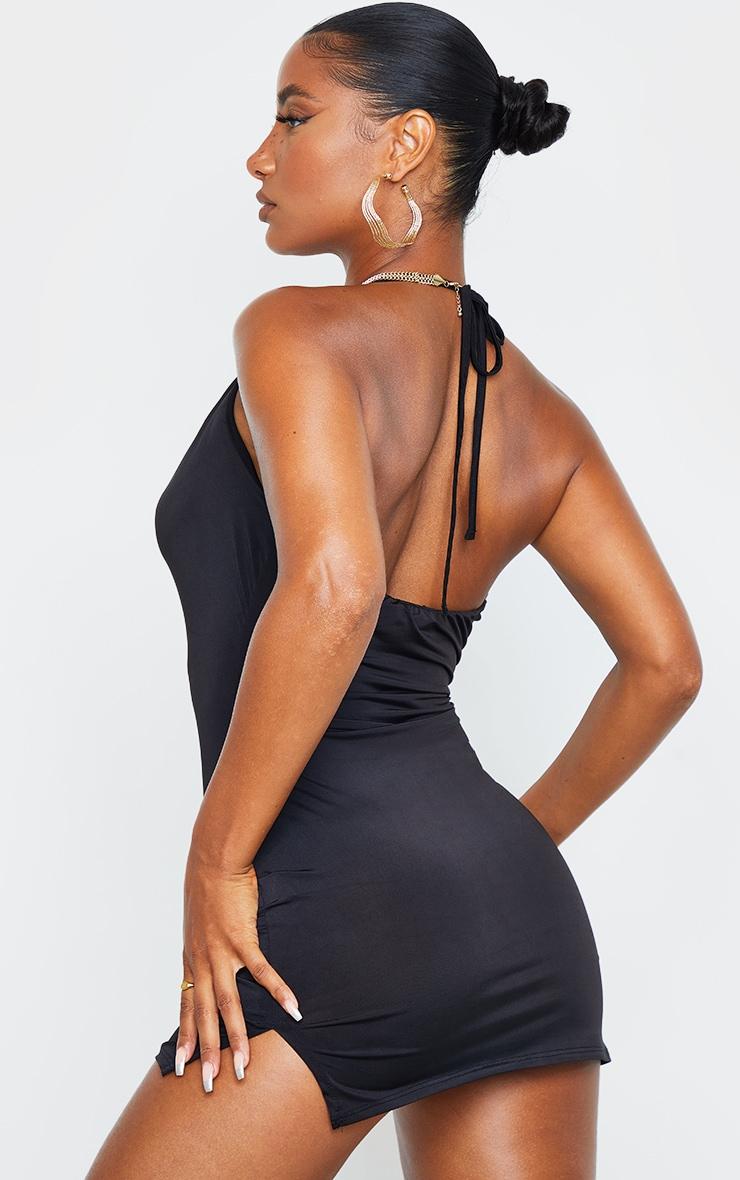 Black Slinky Halterneck Cowl Bodycon Dress 2