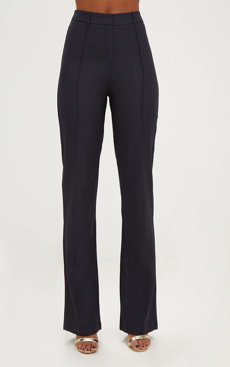Navy High Waisted Straight Leg Trousers 2