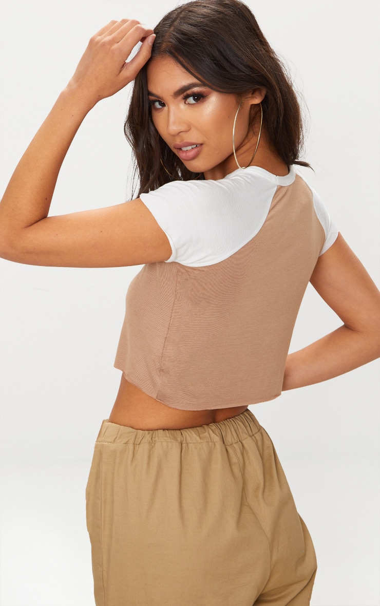 Stone & Grey Contrast Raglan Sleeve Raw Hem Crop Top 2 Pack 2