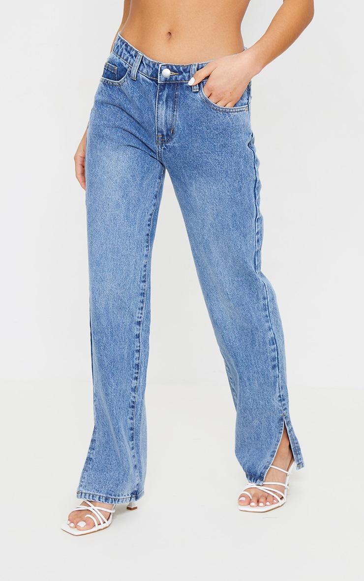 Petite Mid Blue Low Rise Split Hem Jeans 2