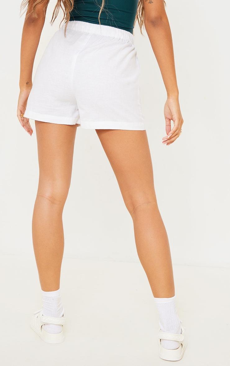 White Linen Feel Pocket Detail Tie Waist Shorts 3