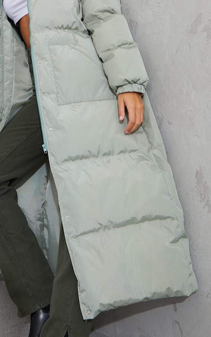 Tall Sage Green Tall Maxi Puffer Coat 4