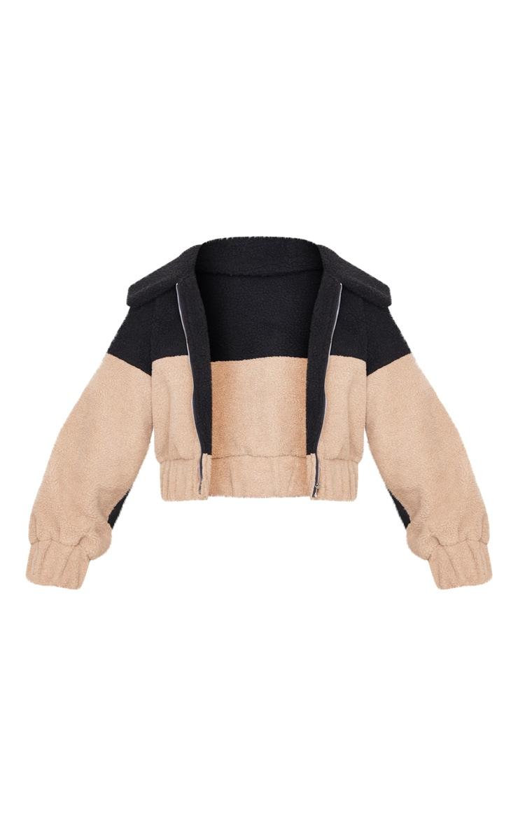 Black Borg Contrast Panel Zip Through Jacket 3