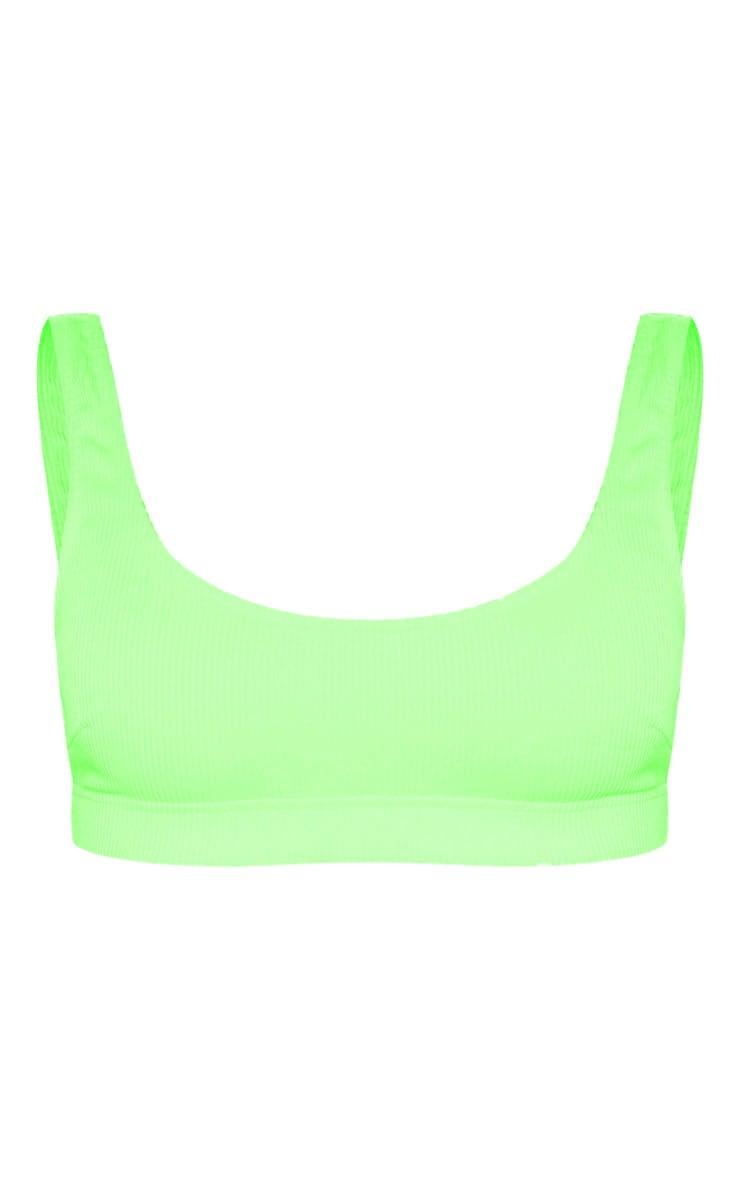 Lime Mix & Match Ribbed Elasticated Scoop Bikini Top 6