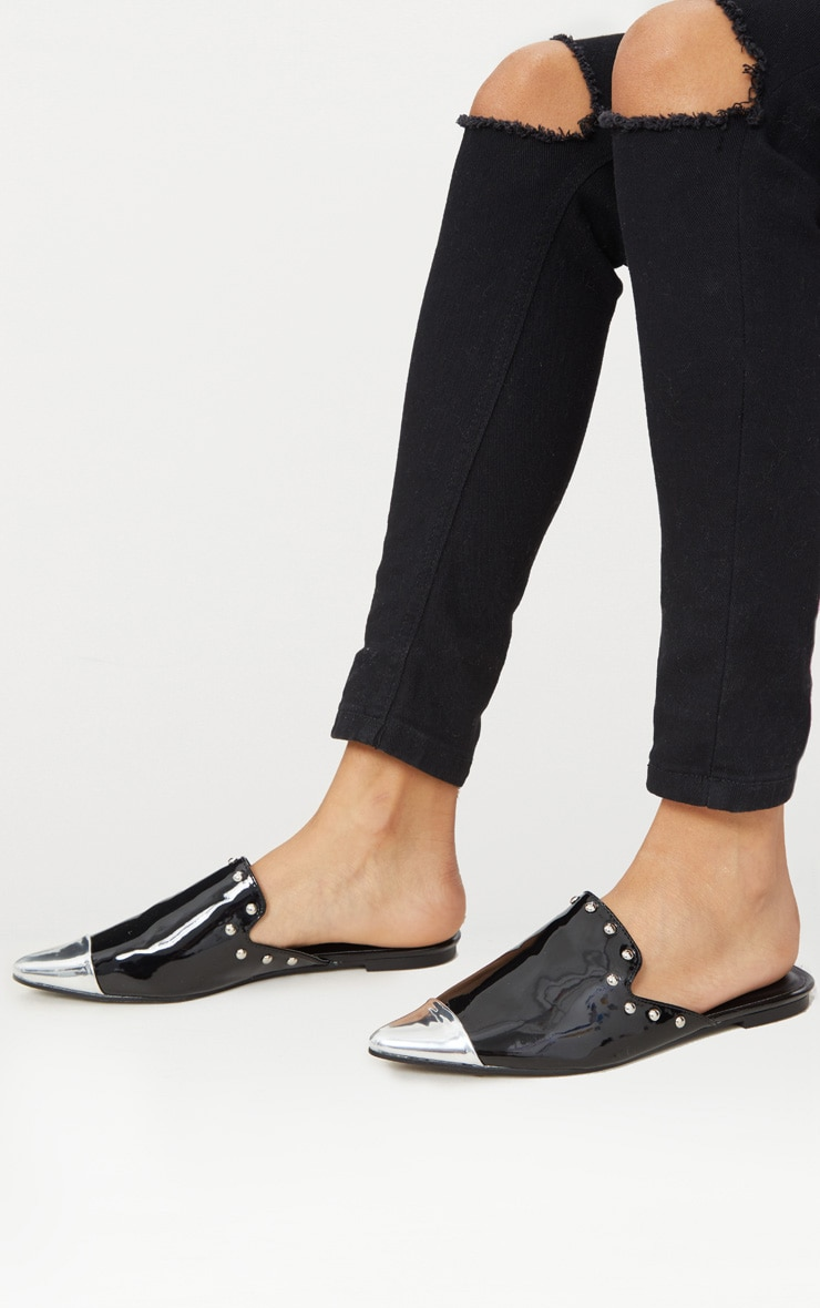 Black Studded Point Metal Toe Mule  1