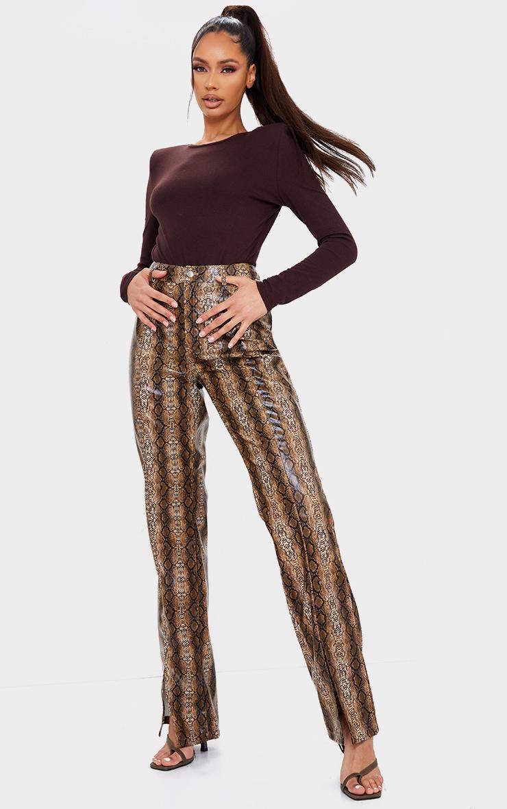 Brown Snake Faux Leather Split Hem Straight Leg Pants 1