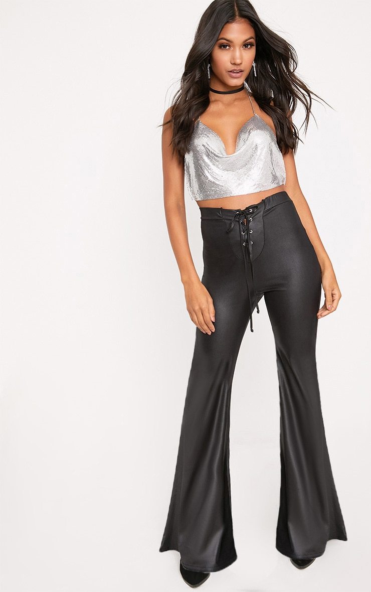 Black PU Lace Up Flared Trousers 1