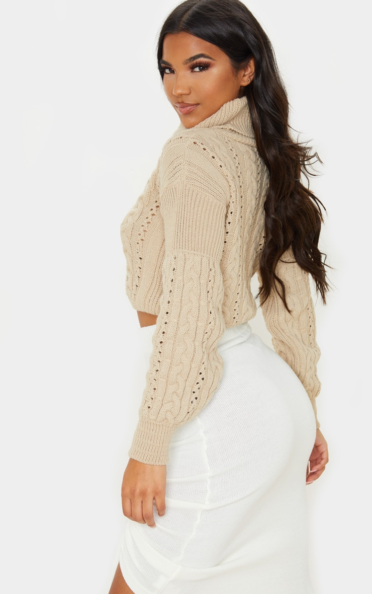 Stone Cropped Cable Knitted Jumper  2