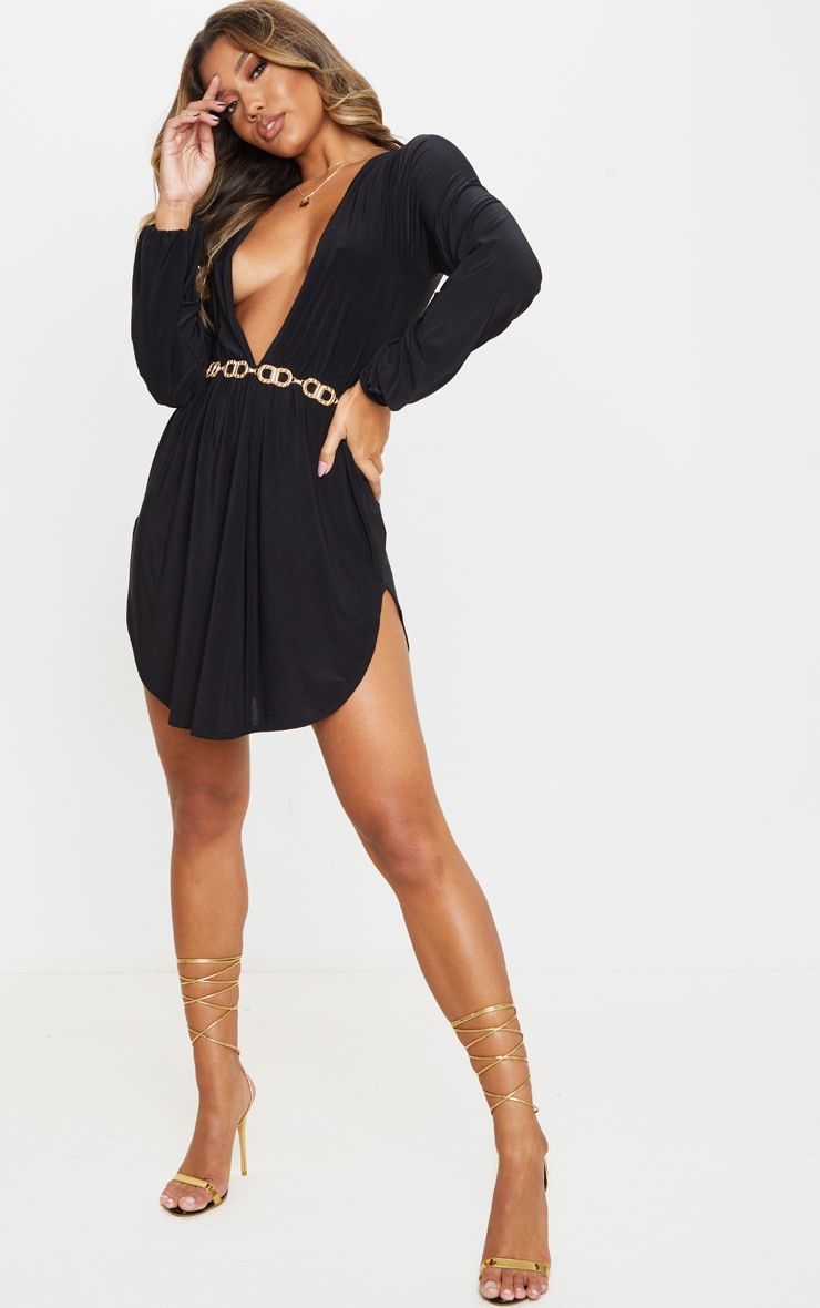 Black Slinky Plunge Extreme Split Shift Dress 1