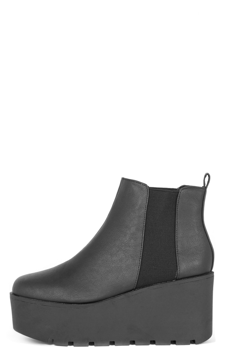 Kasey Black Leather Wedged Boot  1