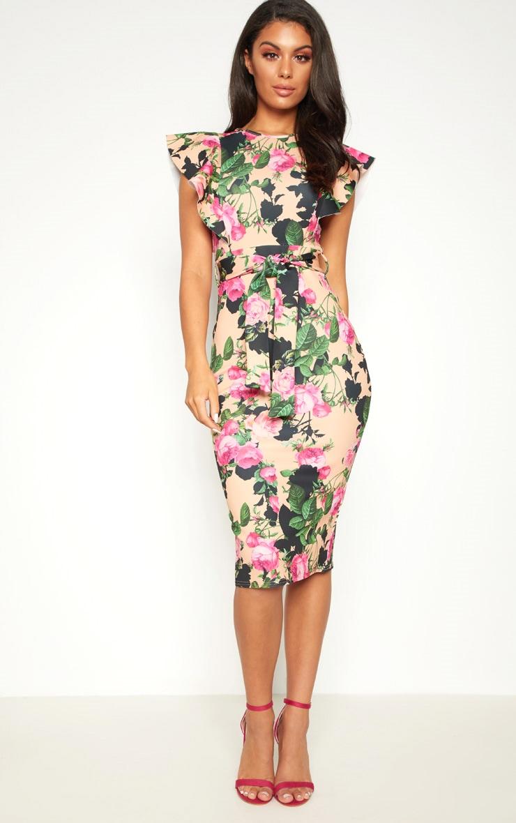 Peach Floral Print Frill Detail Midi Dress 1