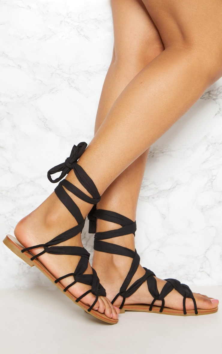 Black Ghillie Lace Up Sandal 1