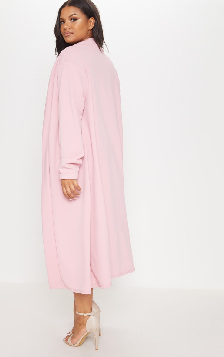 Plus Dusty Pink Crepe Maxi Duster Jacket 2