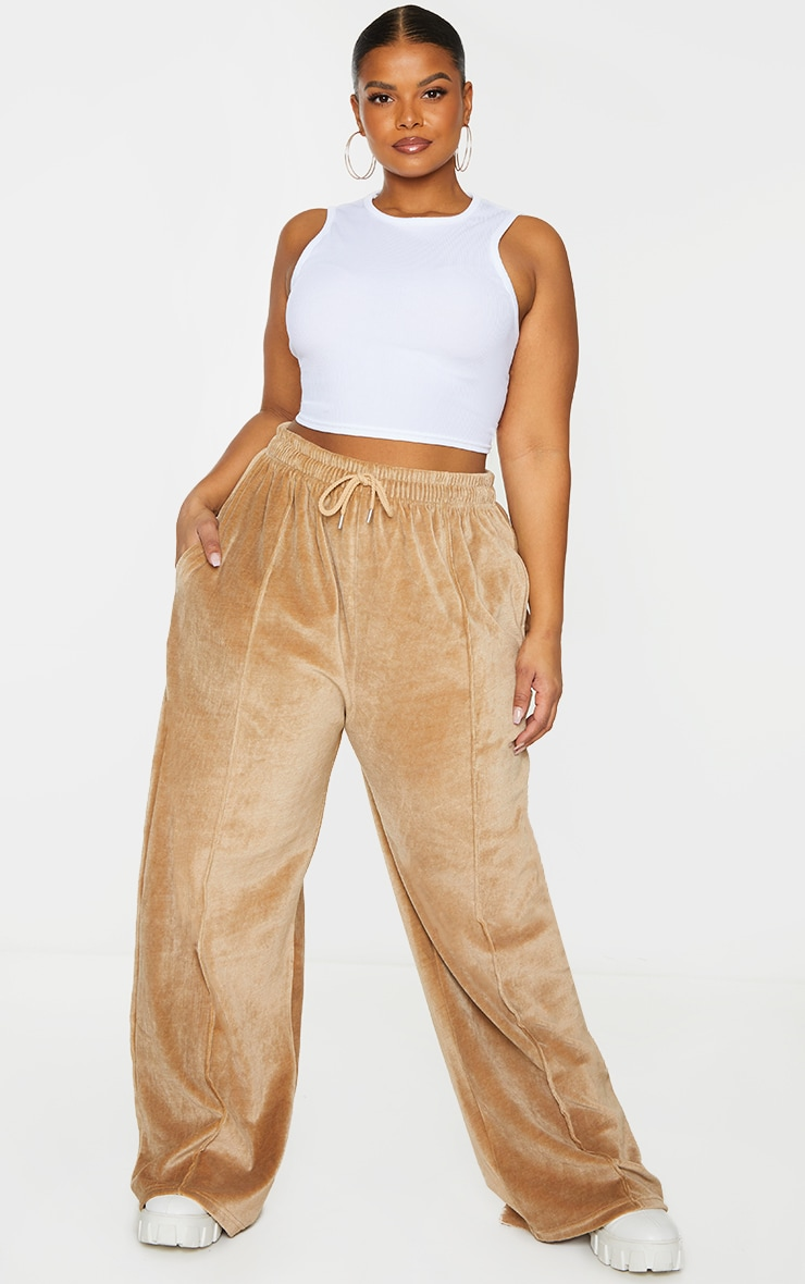 Plus Stone Towelling Wide Leg Joggers 1