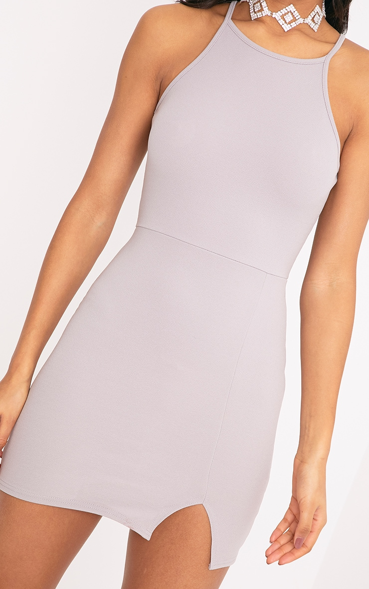 Aniqah Dove Grey High Neck Split Detail Bodycon Dress 4