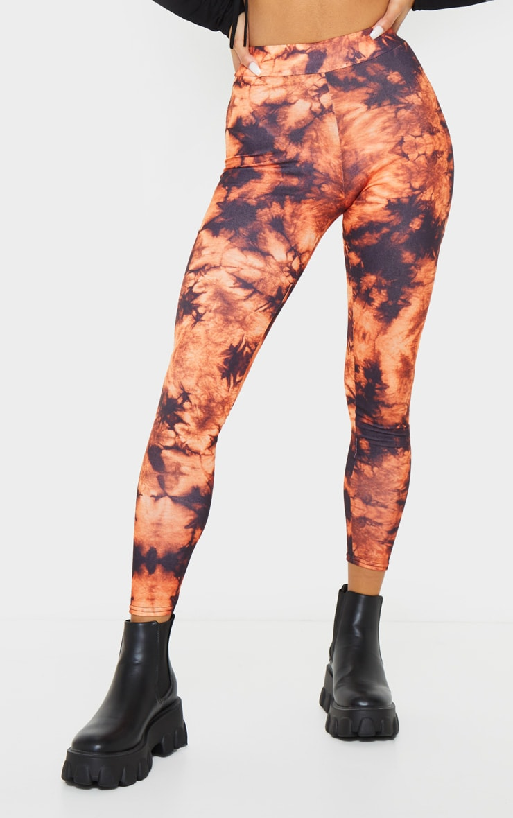 Orange Tie Dye Print Leggings 2