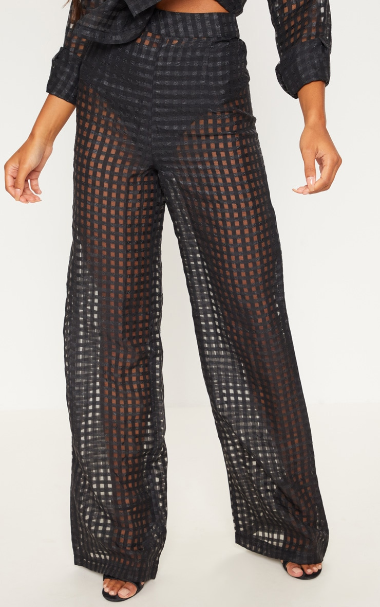 Black Sheer Check Wide Leg Trouser 2