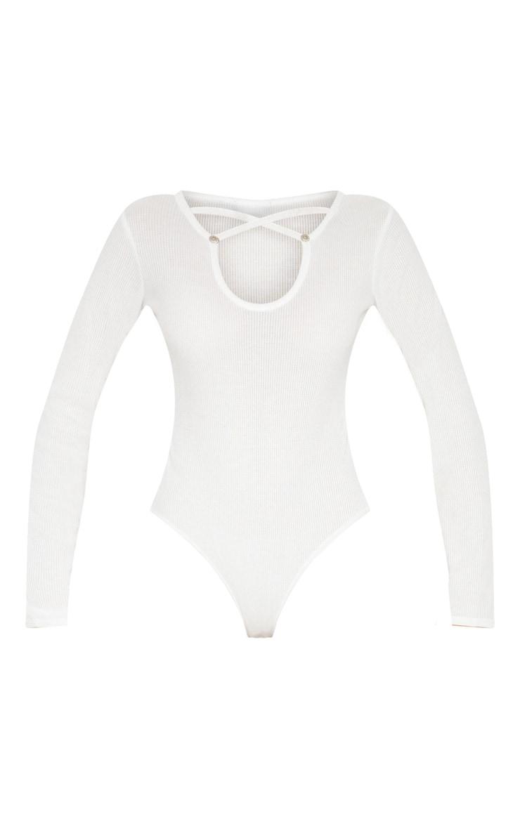 White Keyhole Wrap Front Bodysuit 3