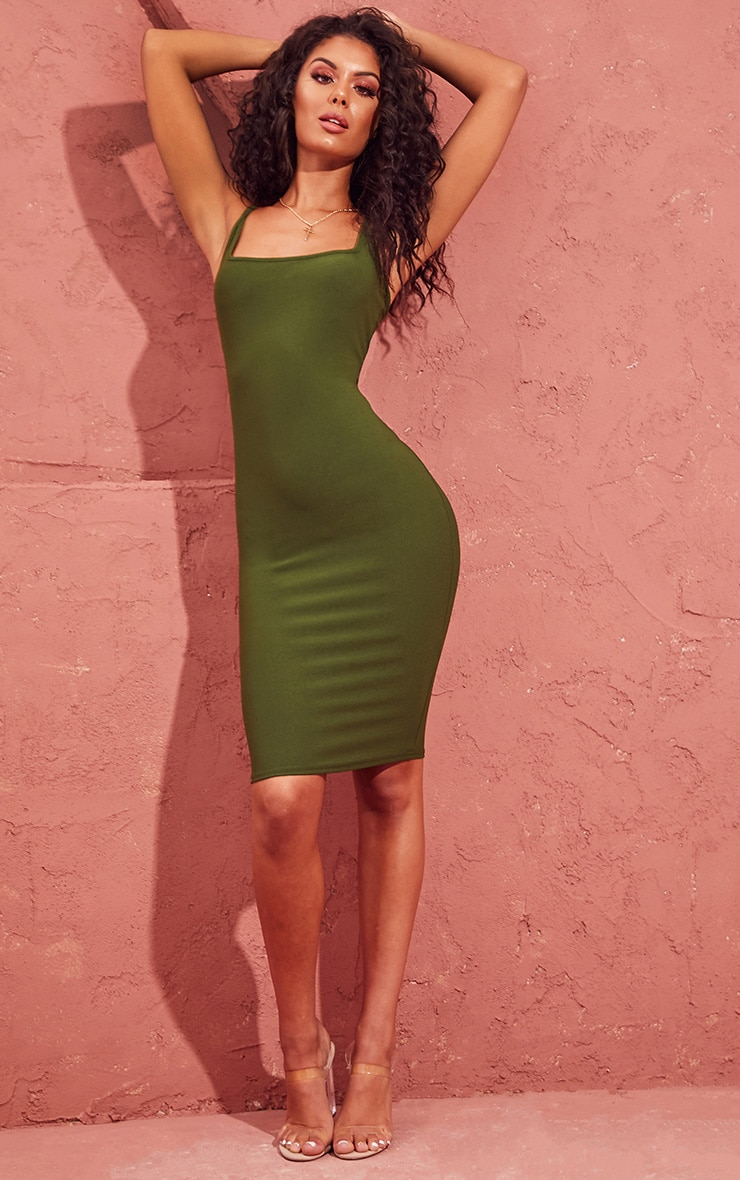 Khaki Square Neck Strappy Midi Dress 1