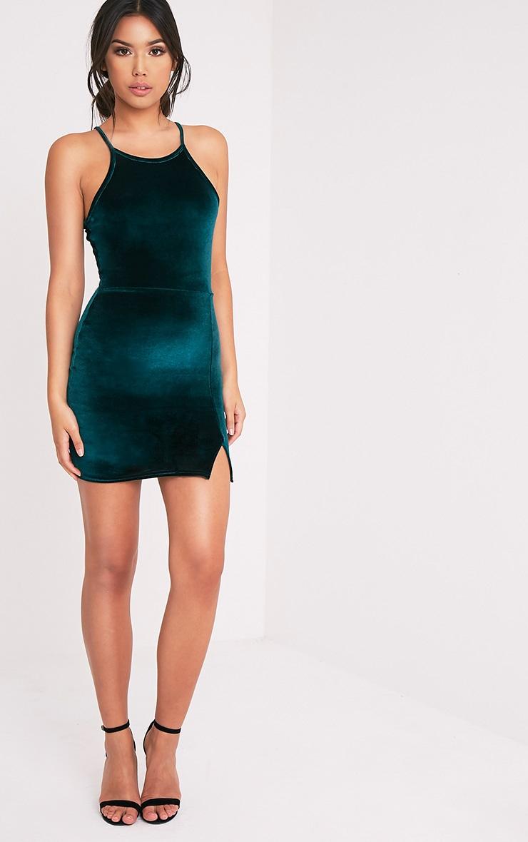 Aniqah robe moulante vert émeraude en velours à détail fendu 5