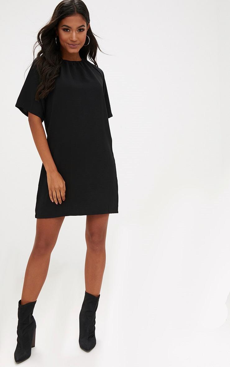Black  Ruched Neck Detail Shift Dress 4