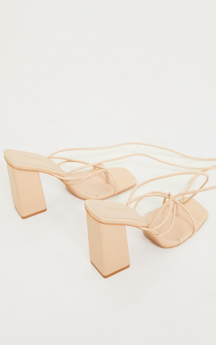 Nude PU Toe Loop Lace Up Chunky Block Heeled Sandals 4