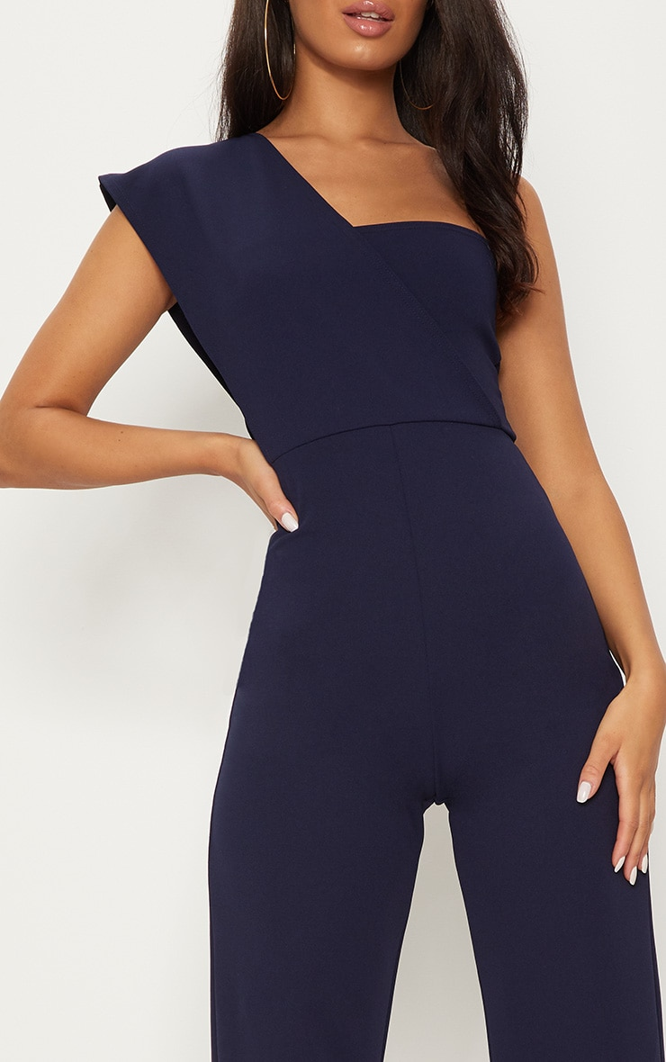 Navy Drape One Shoulder Jumpsuit 5