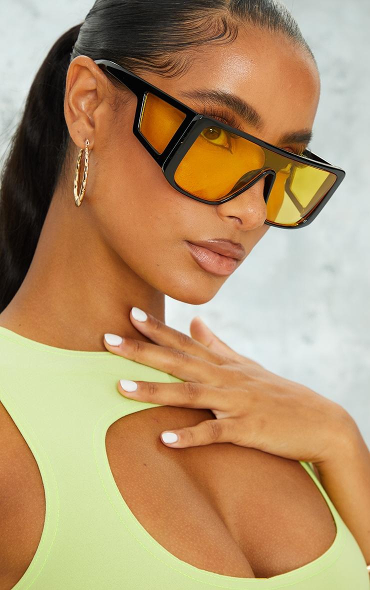 Black Oversized Triple Yellow Lens Square Frame Sunglasses 1