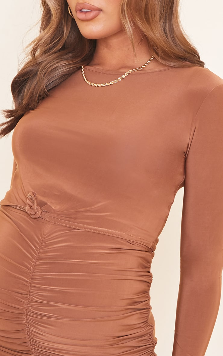 Maternity Chocolate Tie Front Longsleeve Top 4