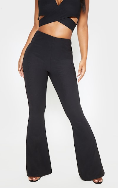 Black Textured Rib High Waisted Flared Trouser