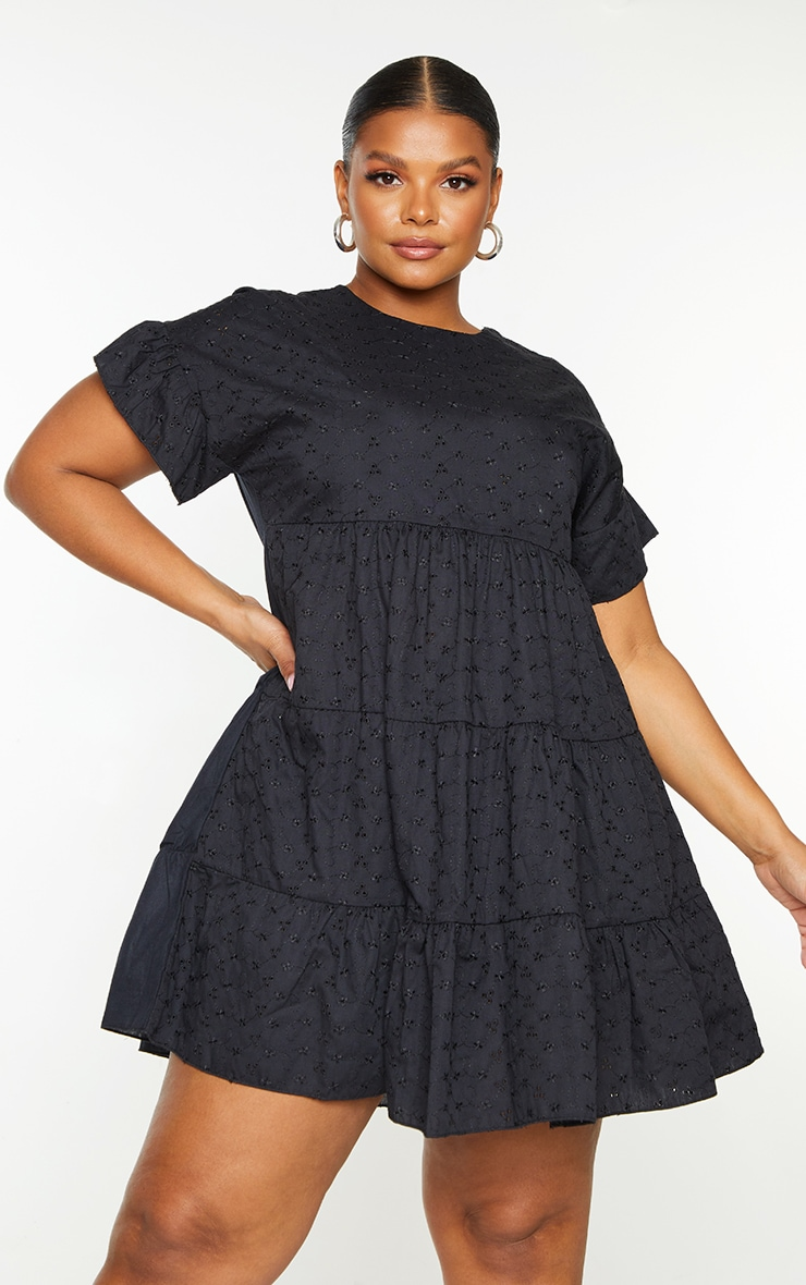 Plus Black Broderie Anglaise Smock Dress 1