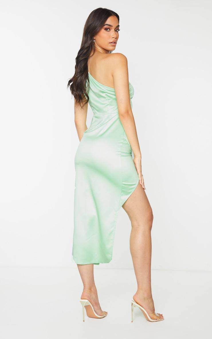 Lime Satin One Shoulder Pleat Detail Midi Dress 2