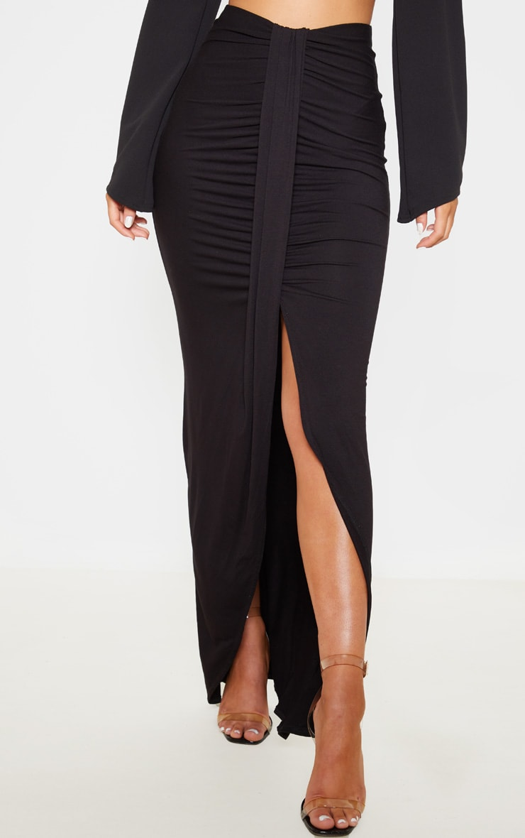 Black Jersey Drape Front Maxi Skirt 2