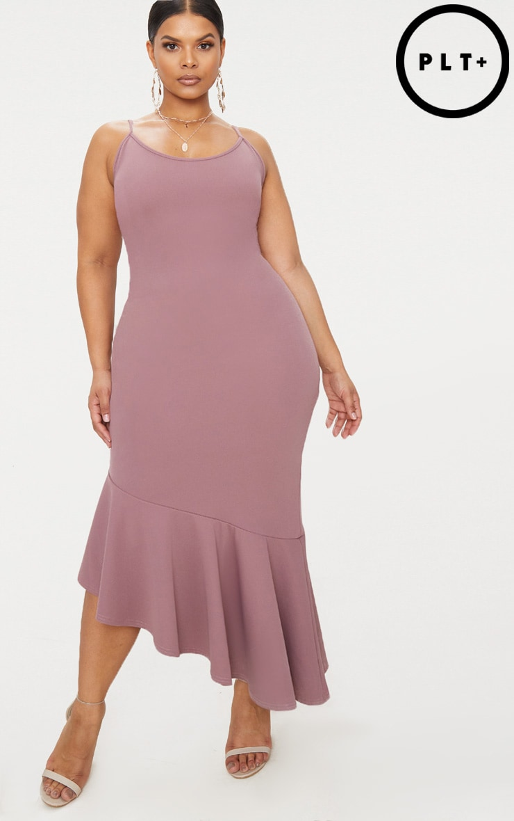 Plus Mauve Strappy Asymmetric Hem Midi Dress 1