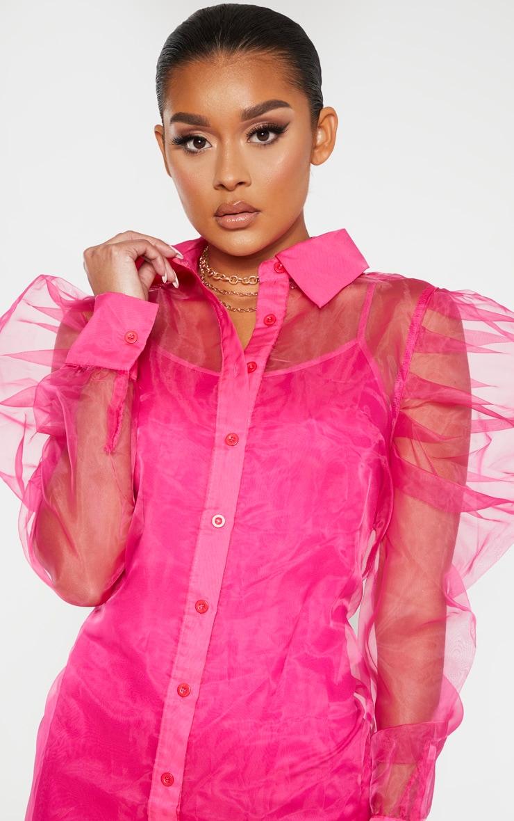Hot Pink Puff Shoulder Organza Shirt Dress 5