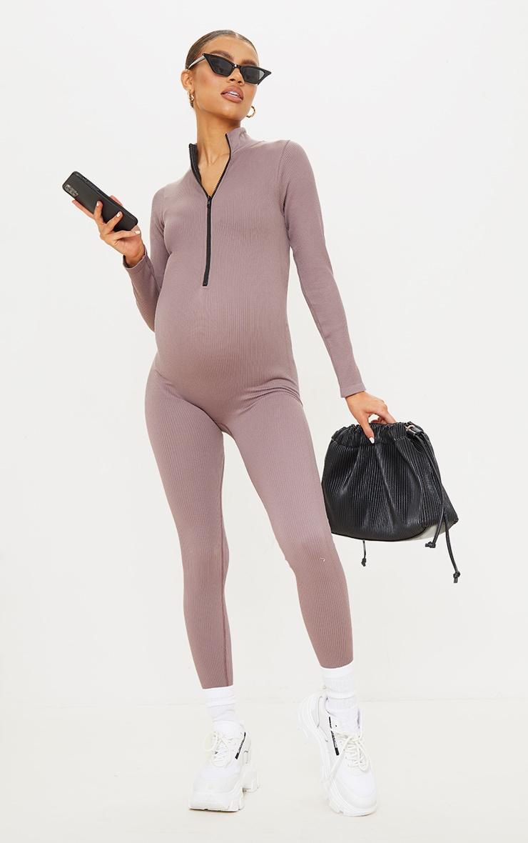 Maternity Mauve Contour Ribbed Jumpsuit 1