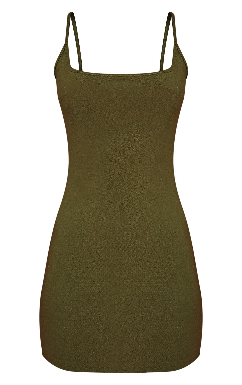 Khaki Crepe Square Neck Strappy Bodycon Dress 3