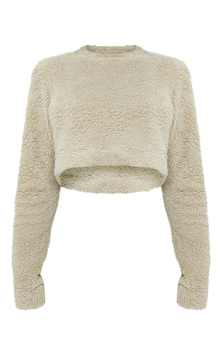 Tall Sage Green Soft Borg Elastic Hem Cropped Sweater 5