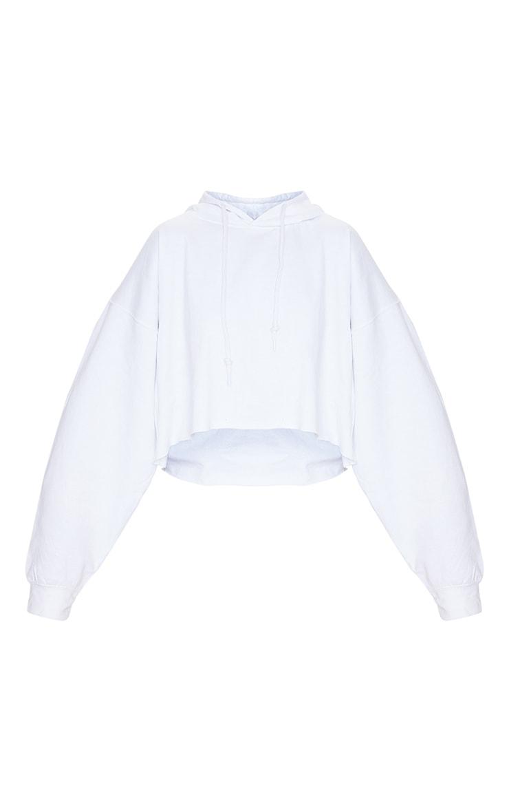 White Ultimate Oversized Crop Hoodie 5