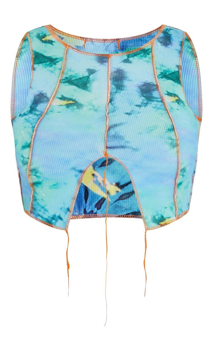 Aqua Abstract Tie Dye Panel Rib Contrast Overlock Crop Top 5
